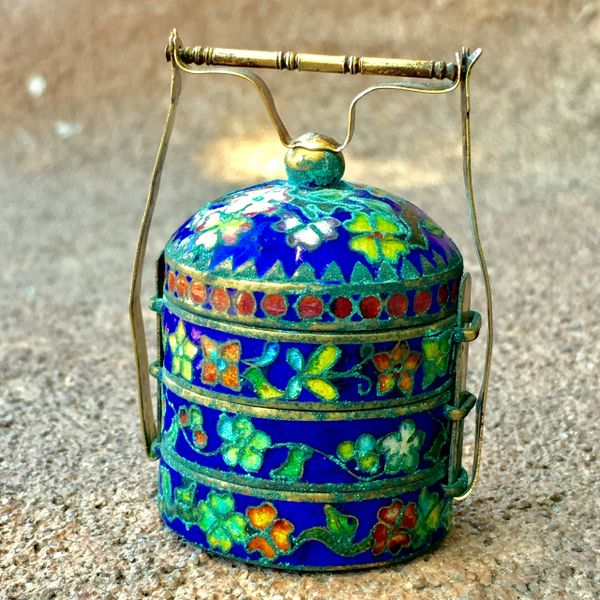 1900s CHINESE CLOISONNÉ OPIUM STASH BOX LATERED FOR TYPE/STRENGTH