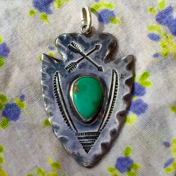 SOLD 1920s FILE & ARROW STAMPED ARROWHEAD TURQUOISE SILVER DOG TAG PENDANT