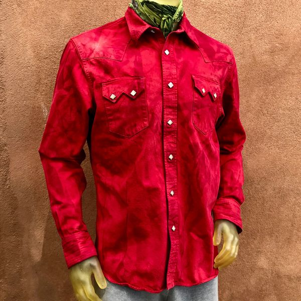 SOLD DOUBLE RL RRL WESTERN DENIM PEARL SNAP SHIRT ATELIER DYED AND SUNFADED