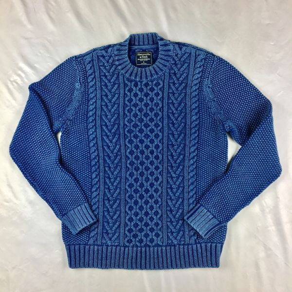 1980s ABERCROMBIE & FITCH 100% COTTON KNIT TEXTURED 2 TONE SWEATER IN INDIGO S
