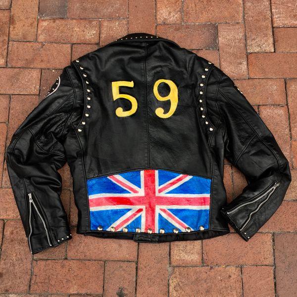 AGED INION JACK FLAG BIKER GANG BRITISH THE 59 RACER FLAG PUNK ROCK STUDDED PATCHED LEATHER JACKET
