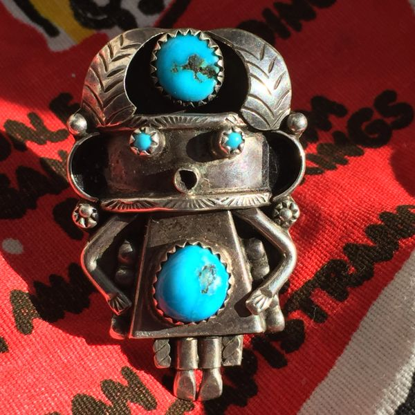 SOLD 1950s TURQUOISE SILVER KACHINA RING