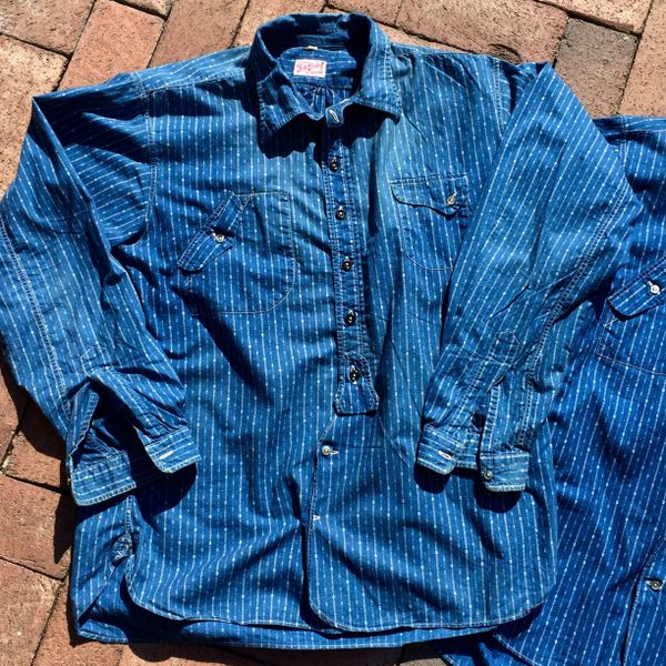 SOLD MISTER FREEDOM SUN FADED, WELL WORN CALICO CHEMISE SHIRT in INDIGO 41