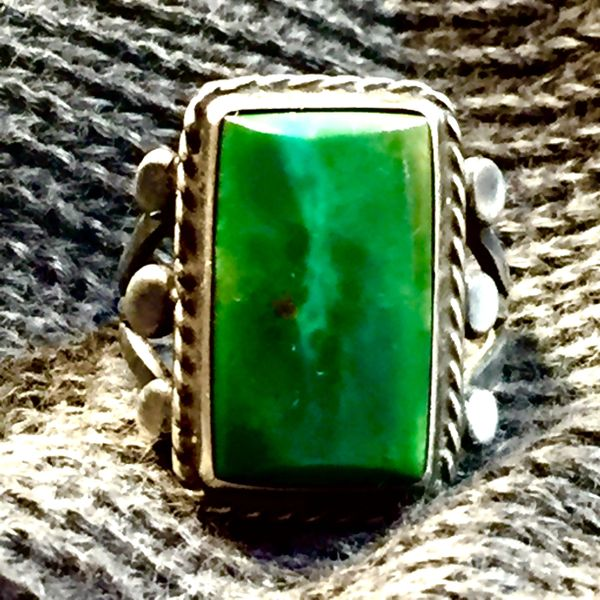 SOLD 1920s BIG BLUE GREEN TURQUOISE AMERICAN SILVER RING