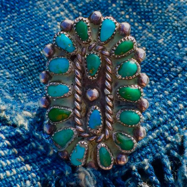 SOLD 1930s GREEN & BLUE 16 STONE AMERICAN TURQUOISE SILVER RING