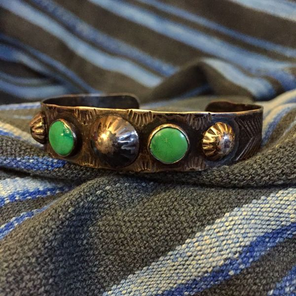 1920s SOLD STAMPED PEYOTE BUTTON THIN SILVER 3 STONE GREEN TURQUOISE CUFF BRACELET