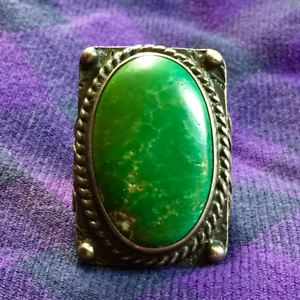 SOLD 1920s ENORMOUS CERILLOS TURQUOISE ARROW STAMPED FRED HARVEY ERA SILVER RING