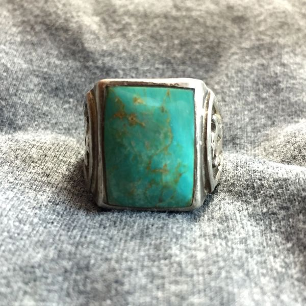SOLD 1930s ALBUQUERQUE MADE BLUE TURQUOISE THUNDERBIRDS BELL TRADING POST RING