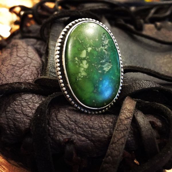 SOLD 1940's STAMPED KINGS MANASSA TURQUOISE AMERICAN SILVER RING