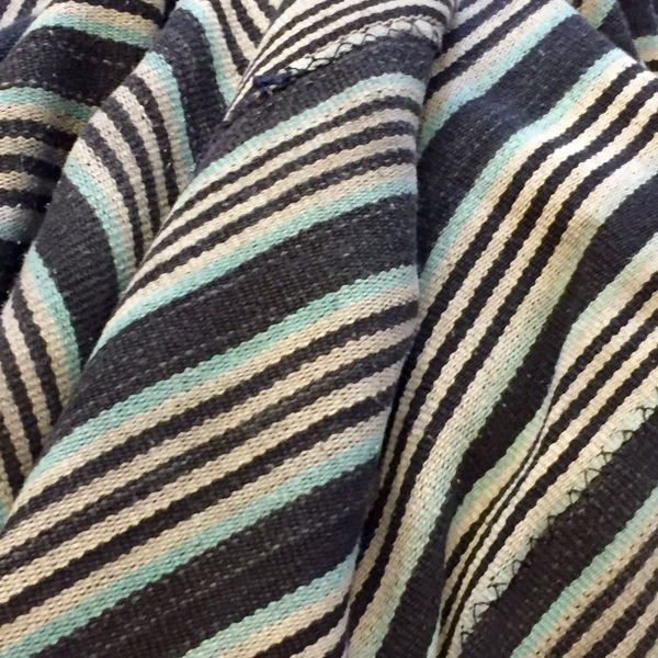 "23 LIGHT GREY, LIGHT BLUE & BLACK STRIPED 45"" X 57"""