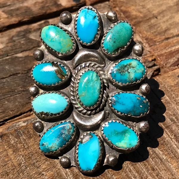 1950S GINORMOUS BLUE & GREEN TURQUOISE SILVER CLUSTER RING