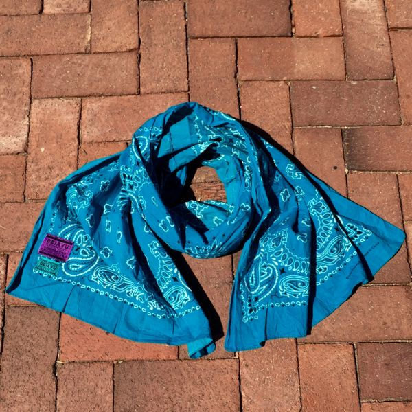 SOLD TURQUOISE BANDANNA SCARF 100% COTTON & SUN FADED ON ONE SIDE