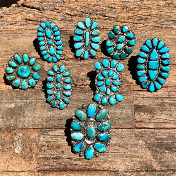 SOLD 1920s - 1950s ZUNI SILVER TURQUOISE CLUSTER RINGS WHOLESALE GROUP