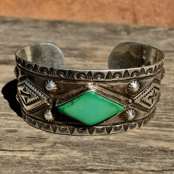 SOLD 1920s MENS BIG WRIST WIDE EXCEPTIONAL MASTER SILVERSMITH & CONDITION SILVER INGOT REPOUSSE PEYOTE WHIRLING LOGS ARROWS THUNDERBIRDS CERILLOS TURQUOISE