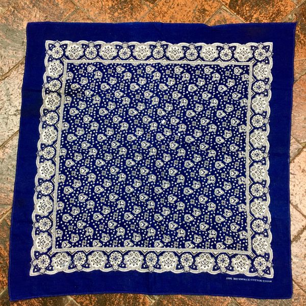 SOLD 1930s INDIGO BLUE BANDANNA WITH BUSY WHITE FLORAL PATTERN