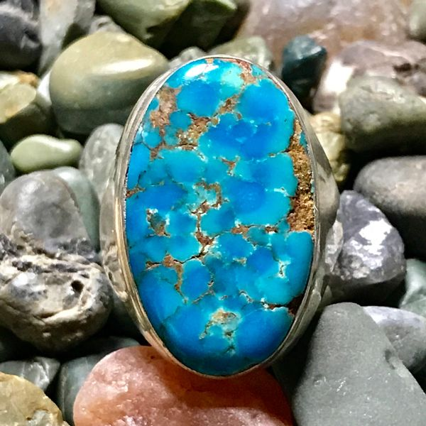 1950s HUMONGOUS NEON BLUE WATER WEB TURQUOISE MENS SILVER RING