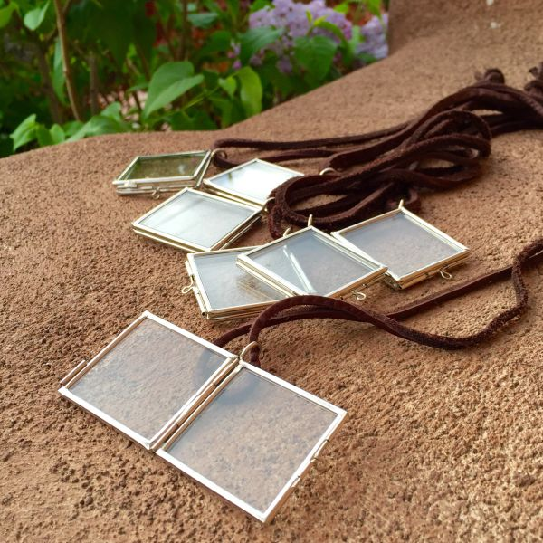 SQUARE GLASS & METAL PENDANT KEEPSAKE LOCKET on AMERICAN DEERSKIN
