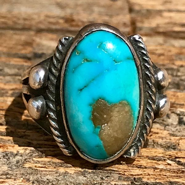 1920s BLUE OVAL TURQUOISE IGNOT SILVER PINKY RI G WITH TWISTED ROPE