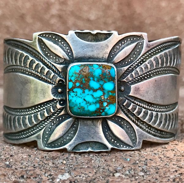 SOLD 1930s EXTRA WIDE INGOT SILVER ELABORATELY STAMPED CUFF BRACELET WITH GEM QUALITY BISBEE BLUE SQUARE TURQUOISE STONE AND HEARTS