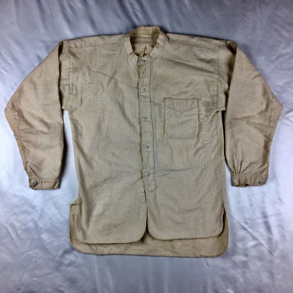 1920s JAPANESE BANDED COLLAR NATURAL COTTON SHIRT WITH GLASS BUTTONS S
