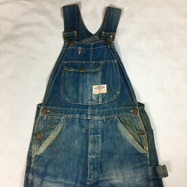 1940s BIG DAD FADED & DISTRESSED DENIM OVERALLS
