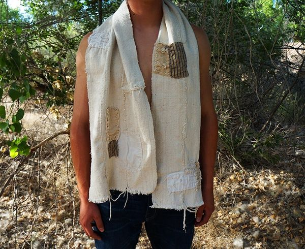 PATCHWORK BORO VINTAGE HANDSPUN NATURAL COTTON SCARF