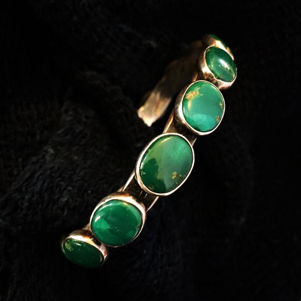SOLD 1930s CERILLOS PEYOTE BUTTON WROUGHT BANGLE BRACELET