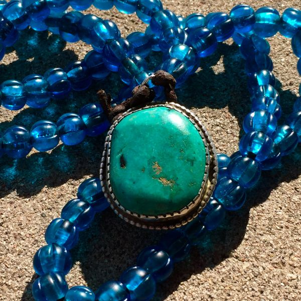 SOLD 1930s LARGE HARD BLUE TURQUOISE SILVER HEAVY PENDANT (no beads)