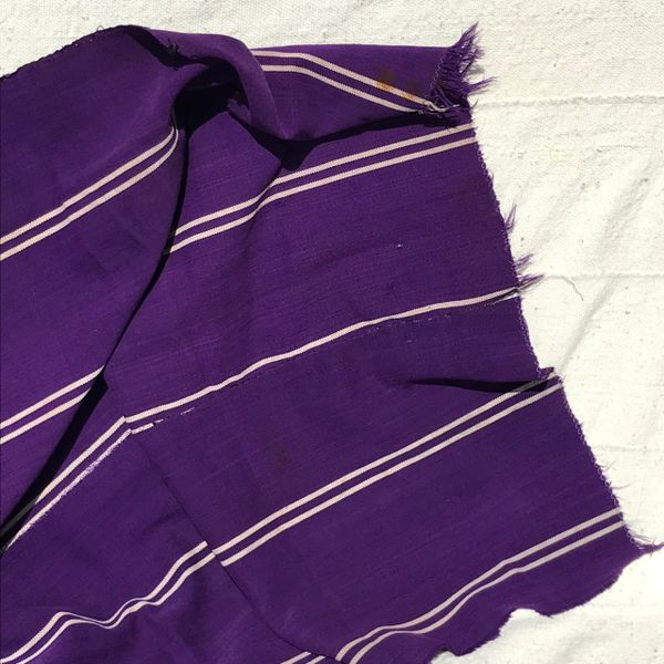 100 YEAR OLD WIDE PURPLE WHITE HAND-DYED HANDWOVEN AFRICAN KOBA CLOTH SCARF STOLE SHAWL