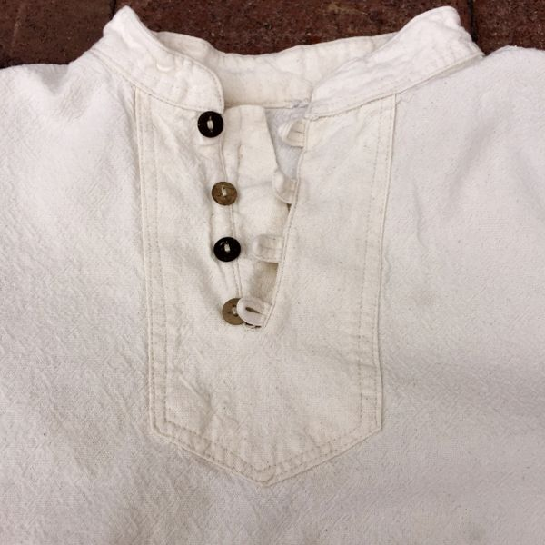 VINTAGE 3/4 SLEEVE THAI BORO PATCHED HANDWOVEN TEXTURED COTTON FARMER SHIRT