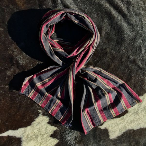 lONG & WIDE COTTON REDDISH PURPLE, PALE GREEN, BUTTER YELLOW & BLACK STRIPED ASCOT SCARF