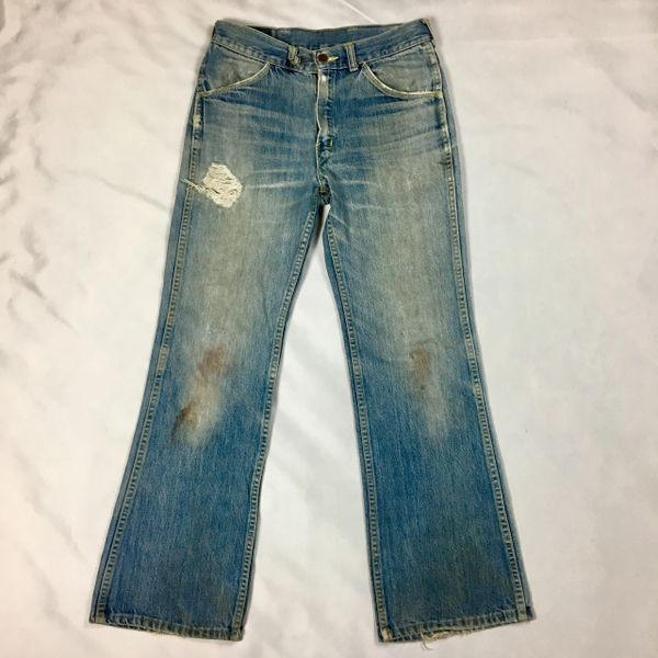 "BIG YANK LIGHT DENIM FADED & DISTRESSED BELL BOTTOMS 31"" WAIST"