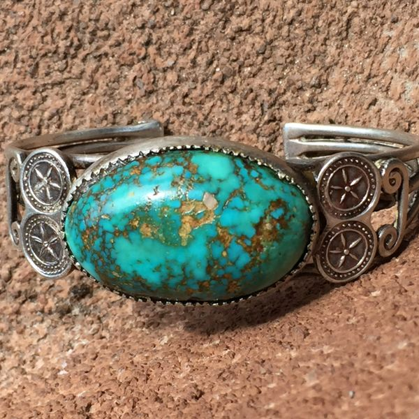 SOLD 1930s ENORMOUS PERSIAN TURQUOISE AMERICAN SILVER CUFF BRACELET
