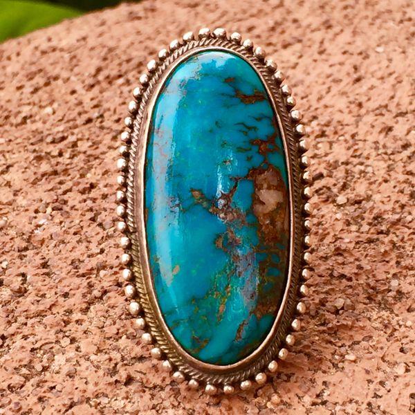 SOLD 1950s BIG DARK BLUE TURQUOISE INGOT SILVER RING