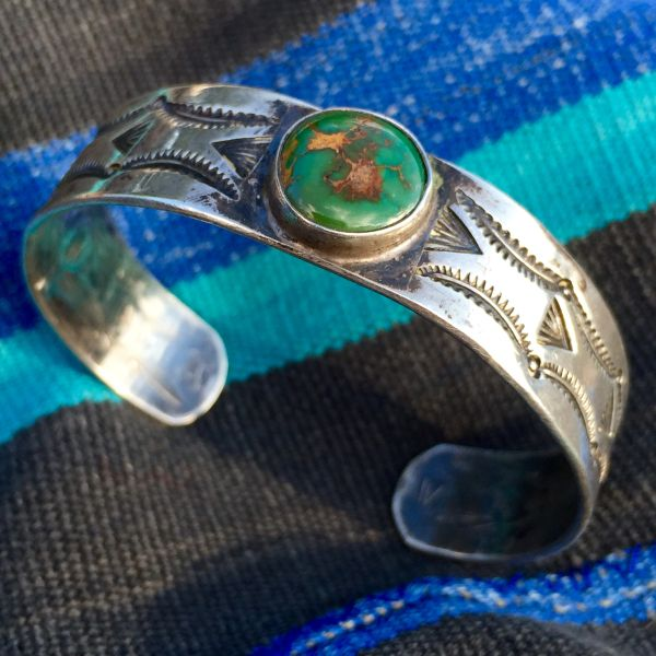 SOLD 1930s ROYSTON TURQUOISE SILVER STAMPED CUFF