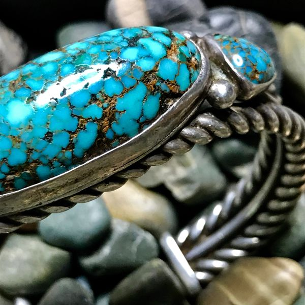 SOLD 1920s HAND PULLED INGOT SILVER TWISTED WIRE & HUGE DOMED PERSIAN OVAL TURQUOISE CUFF BRACELET