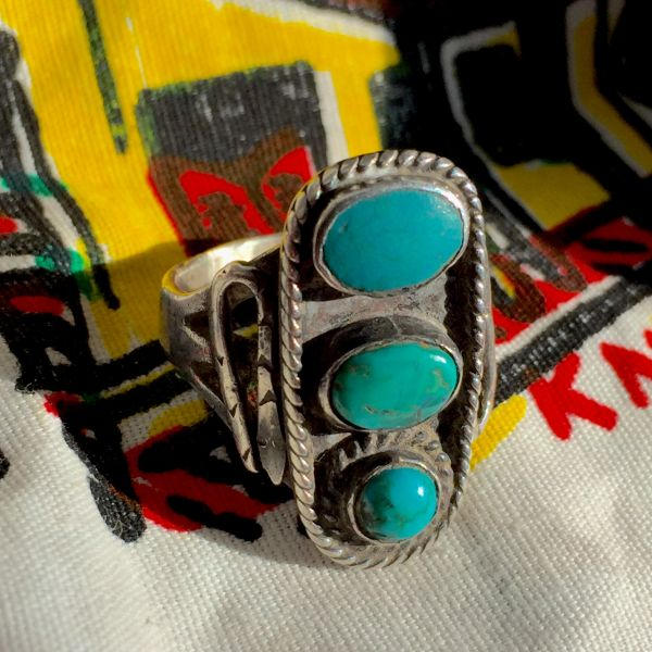 SOLD 1910s SNAKES INGOT TURQUOISE 3 COLORS of BLUE SILVER RING