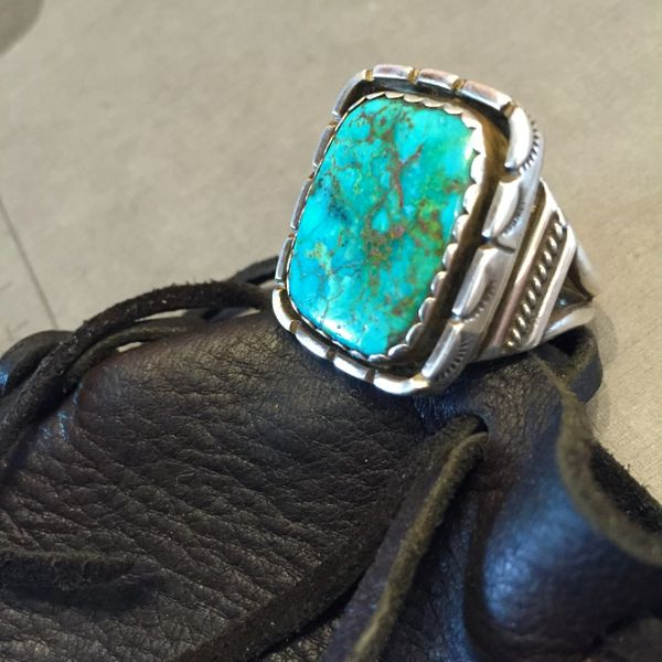 SOLD 1950s SIGNED HUGE MUSEUM WORTHY MENS TURQUOISE SILVER RING