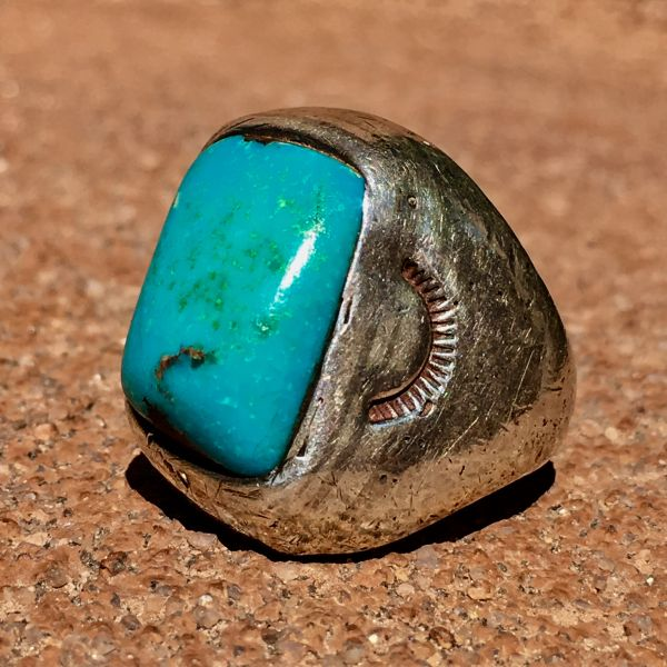 1920s CAST SILVER STAMPED BLUE GEM TURQUOISE MENS RING