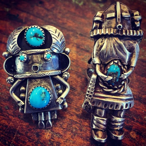 SOLD 1980s FINGER LONG HEAVY SILVER EXQUISITE KACHINA TURQUOISE RING