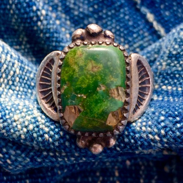 SOLD 1910s SIGNED GREEN TURQUOISE with QUARTZ CRYSTAL MATRIX SILVER RING