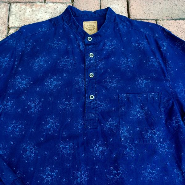 SOLD INDIGO COTTON FLORAL BANDED COLLAR WILD WESTERN SHIRT