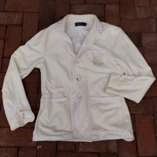 SOLD VINTAGE RALPH LAUREN ROWING PREP SCHOOL IVORY HEREINGBOBE JERSEY KNIT BLAZER JACKET