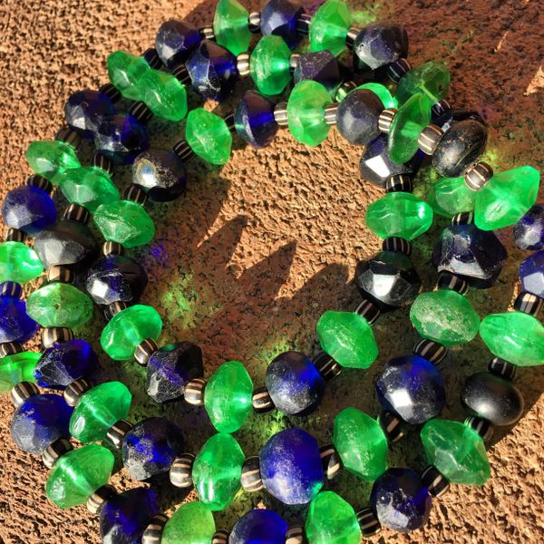 1840s - 1880s GREEN AMERICAN VASELINE GLASS TRADE BEADS MIXED WITH BOHEMIAN MADE AFRICAN TRADED COBALT VASELINE GLASS TRADE BEADS with BLACK GOOSEBERRY BEADS