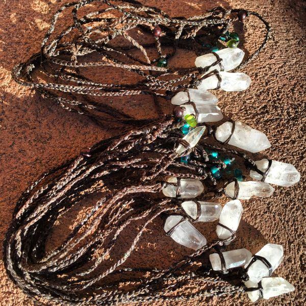 LARGE NEPAL MADE INDIGENOUS QUARTZ CRYSTAL ON WAXED LINEN TWINE WITH GLASS BEAD NECKLACE