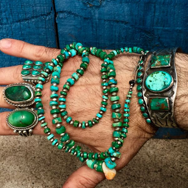 1920s SOLD ITTY BITTY GRADUATED SILVER BENCH BEADS & HAND FILED PUMP DRILLED TURQUOISE HEISHI BEAD NECKLACE with CRYSTAL CORN KERNEL