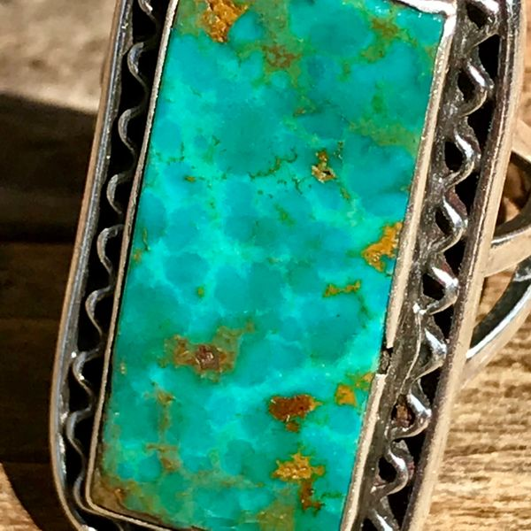 SOLD 1930s VIVID ROYSTON TURQUOISE RECTANGLE SILVER RING