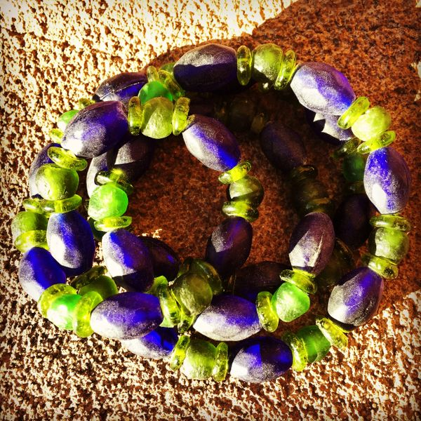 ASIAN COBALT FACETED INDIGO TRADE ROUTE BEADS with GHANA RECYCLED GLASS BEADS & GREEN DOGON BEADS