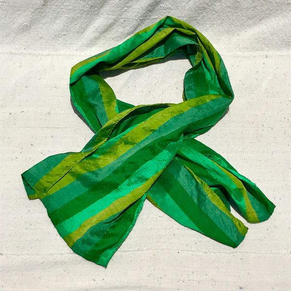 100% SILK STRIPED GREEN SCARF WITH SOME MINOR SPOTTING
