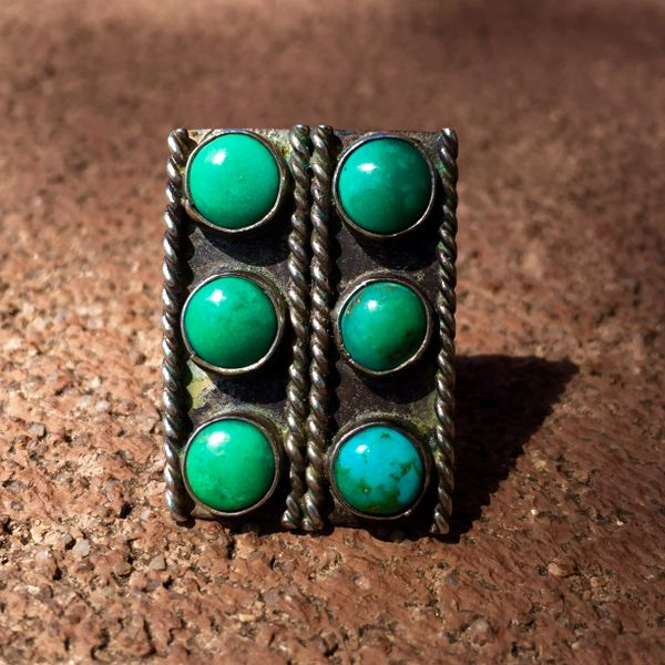 SOLD 1920s 6 TURQUOISE STONES SILVER FRED HARVEY ERA RING